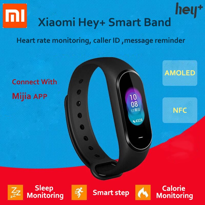 Xiaomi Hey Plus Smartband Copy Machine 0.95 Inch AMOLED Color Screen Builtin Multifunction NFC Heart Rate Monitor Hey+ Band