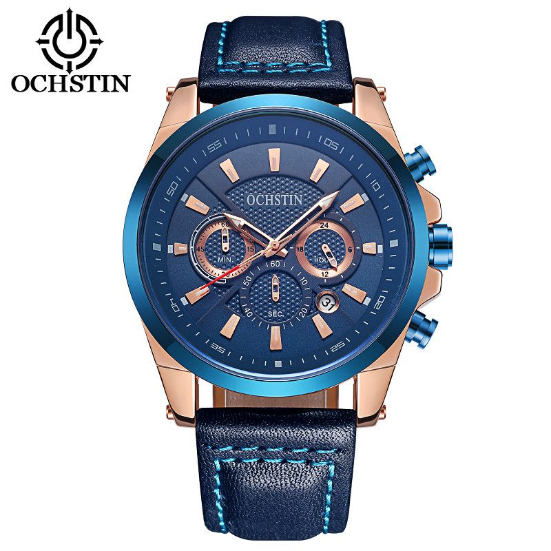 <font><b>OCHSTIN</b></font> Brand Sport Watch Men Top Brand Luxury Male Leather Waterproof Chronograph Quartz Military Wrist Watch Men Clock saat