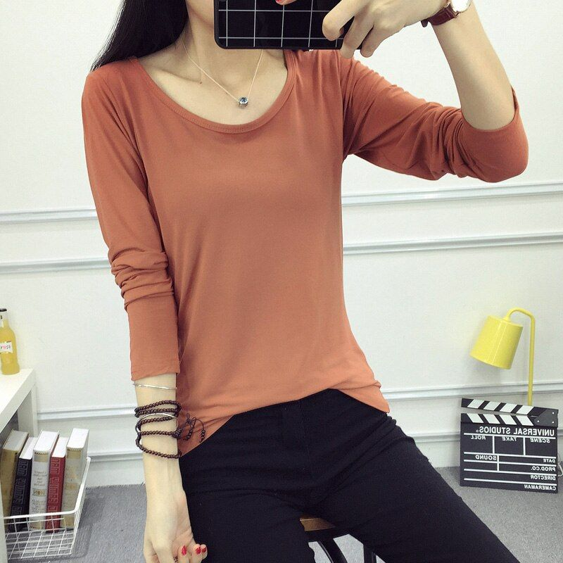 2017 Autumn Women's Tights Basic Cotton T-Shirts Girls Compression Dry Quick Long Sleeve Shirts Ladies Deep O Neck Fitness Tops