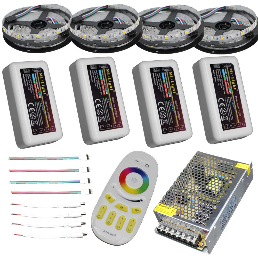 15m 20m 10m 5m RGBW RGBWW led strip Waterproof IP67/65/20 5050 tape ribbon 12V + RF Remote Controller + Power adapter Kit