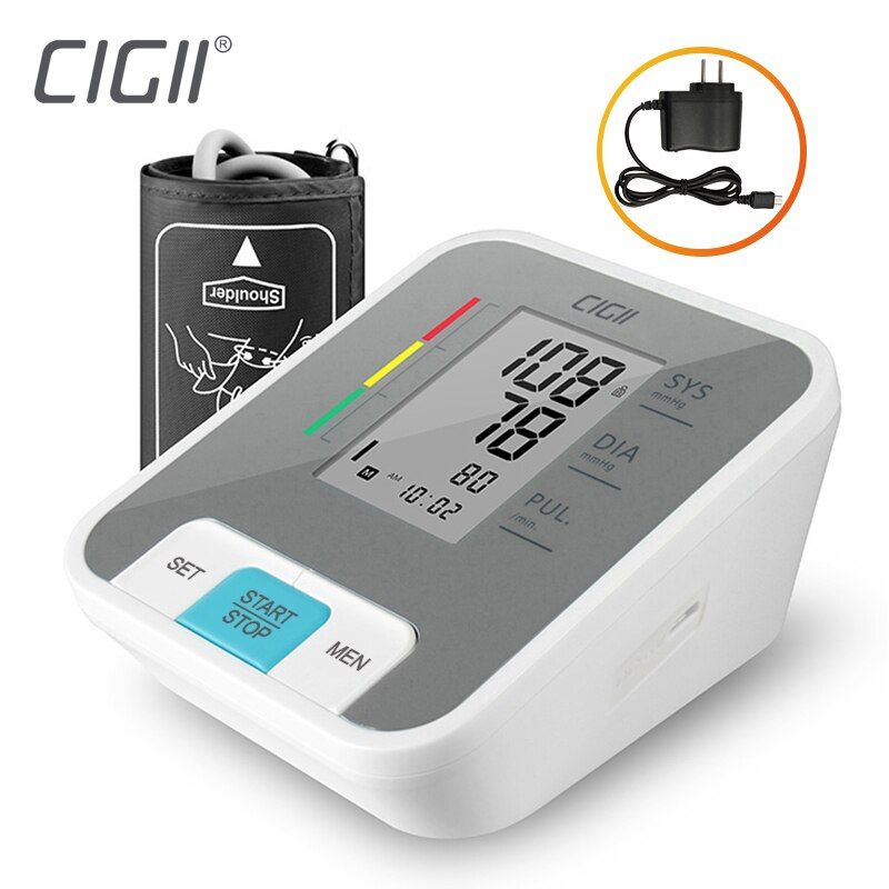 Cigii Home health care Pulse measurement tool Portable LCD digital Upper Arm Blood Pressure Monitor 1 Pcs Tonometer