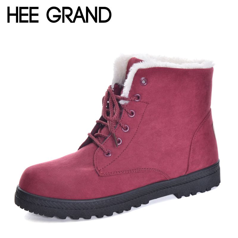 HEE GRAND New Arrival British Style Women Snow Boots Fashion Winter Warm Shoes Lace-up Women Winter Boots size 35-44 XWX6171