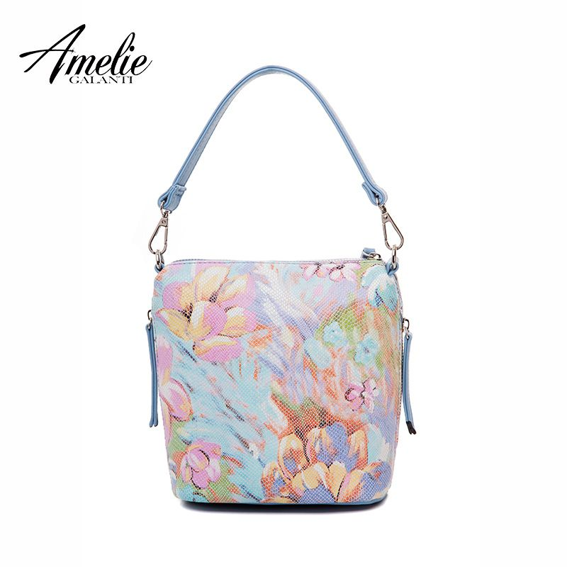 AMELIE GALANTI Woman's Handbags Fashion Floral Shoulder Bags Sof PU Leanther Fabric Bucket Bags for Woman Casual Totes Bags