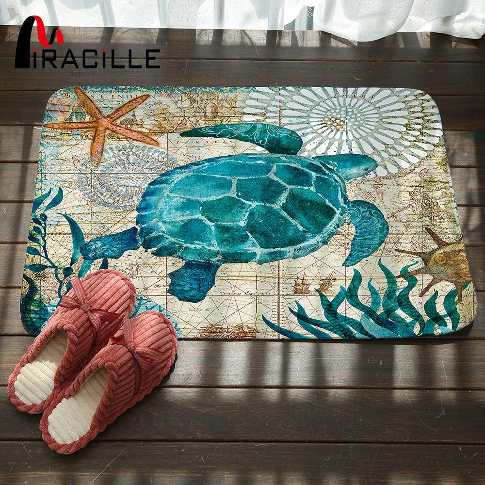 Miracille Marine Style Door Mat Floor Carpet for Living Room Sea Turtle Pattern Coral Fleece Rug Anti-Slip Doormat Home Decor