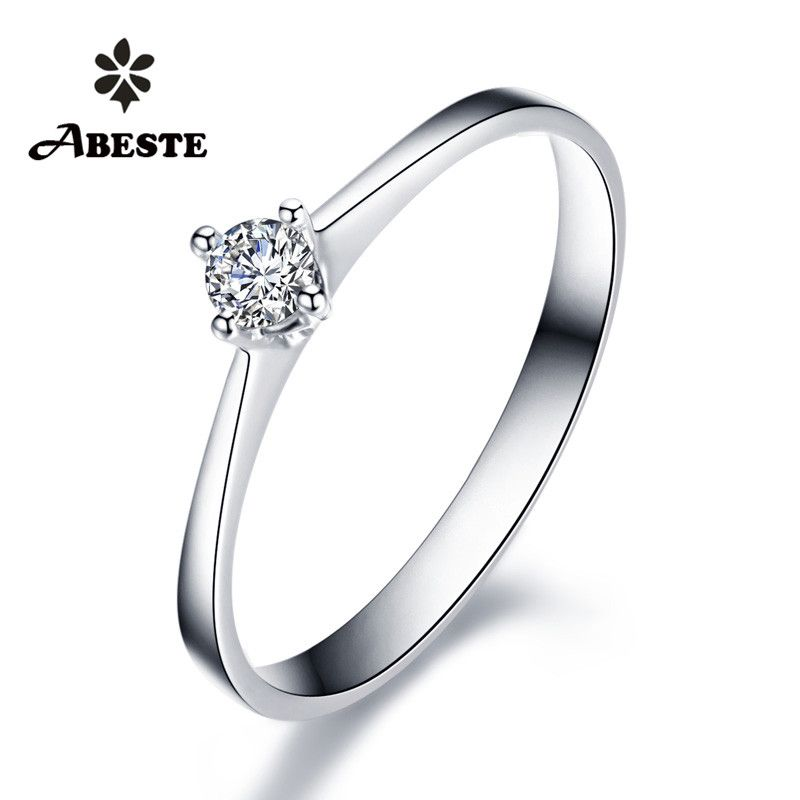 ANI 18 K Weiß/Gelb/Rose Gold (AU750) frauen Hochzeit Ring 0,1 CT Certified SI Solitiare Runde Real Diamond Ring anillos mujer