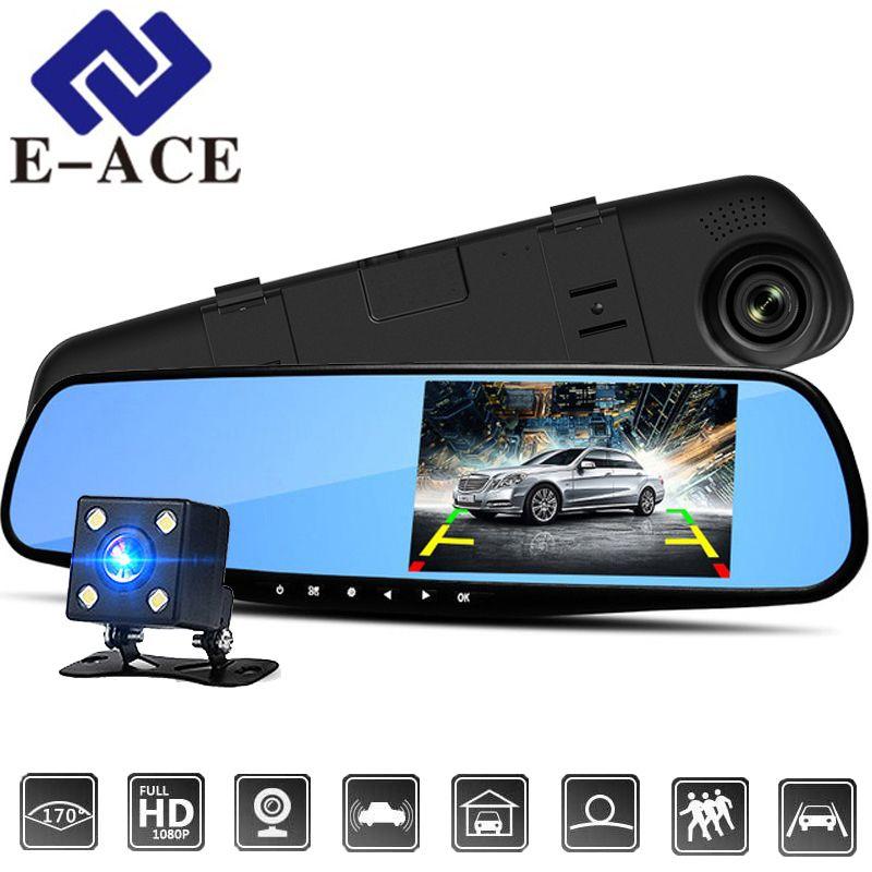 E-ACE 4.3 pouce Voiture Dvr Caméra Full HD 1080 p Automatique Caméra Vue Arrière Miroir Avec DVR Et Caméra Auto enregistreur Dashcam Voiture Dvr
