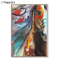 Pintura al óleo de caballo de alta calidad pintura Pop caballo pintura al óleo en lienzo para decoración hecha a mano Animal caballo indio pintura