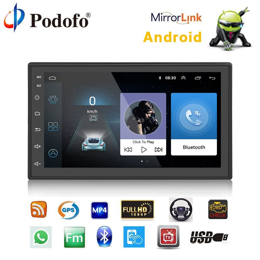 Podofo Auto Multimedia-player Autoradio 2 Din Android Auto Radio GPS Navigation Bluetooth Audio Stereo radio Auto MP5 Player USB FM