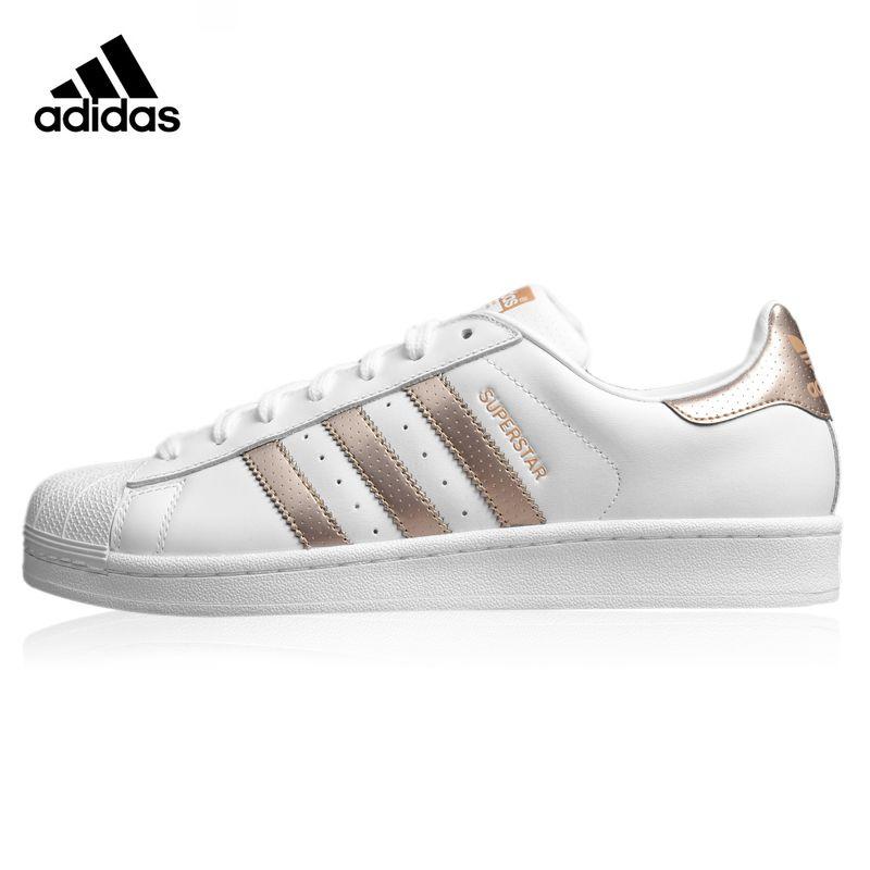 Adidas Superstar frauen Wanderschuhe, Gold & Weiß, Breathable haltbare Leichte Rutschfeste BB1428