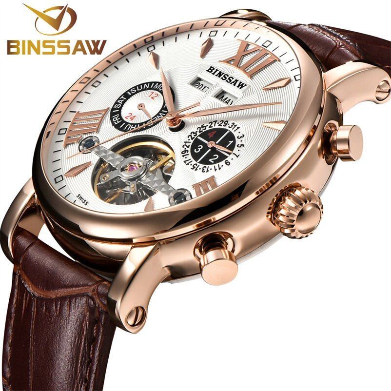 BINSSAW Reloj Hombre Full-automatic Mechanical Watch Luxury Tourbillon Brand Men Leather Watches Calendar Week Saat Relogios
