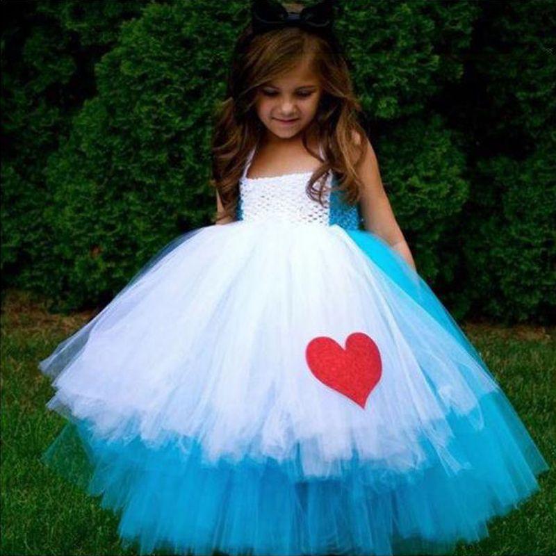 Алиса в стране чудес вечернее платье принцессы для девочек синий белый ручной работы крючком платье-пачка Лето 2016 дизайнер ручной настройк...
