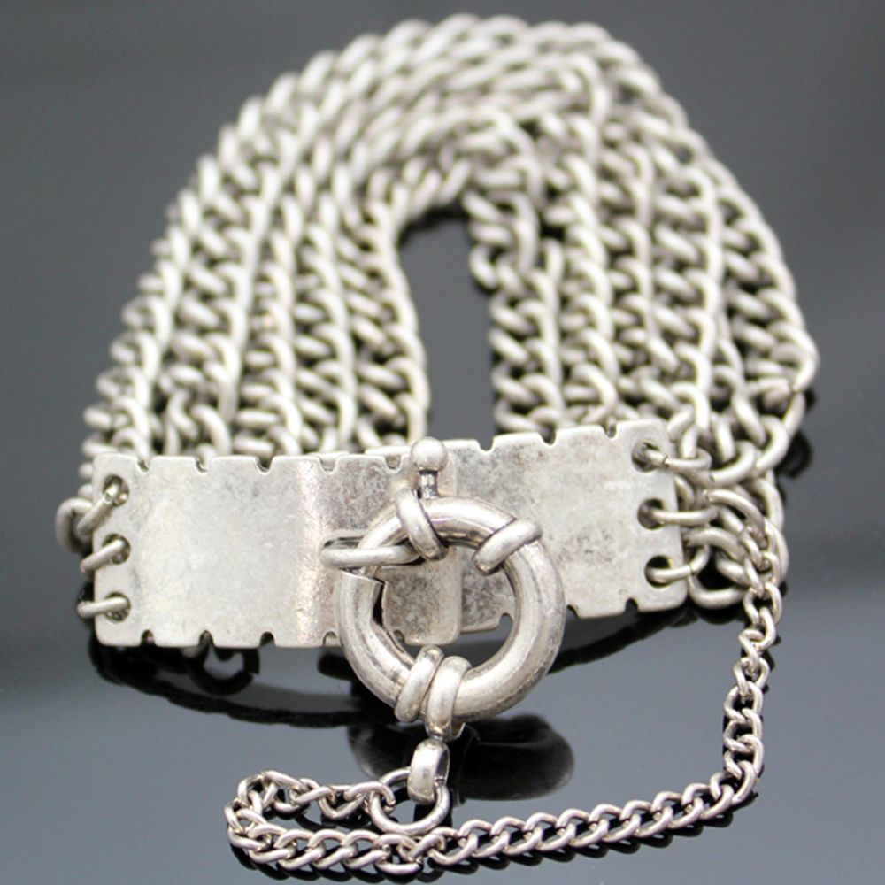 Vintage Silver Classic Multi Layer Chain Belcher Bolt Clasp Bracelet Bangle Jewelry