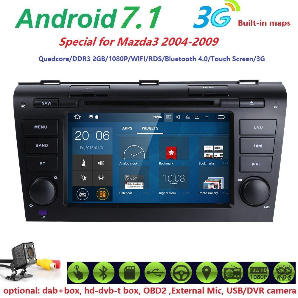 2 din AutoRadio Tape Recorder GPS Android 7.1 Car DVD Player For MAZDA 3 MAZDA3 2004 2005 2006 2007 2008 2009 Head Unit 2GB WIFI