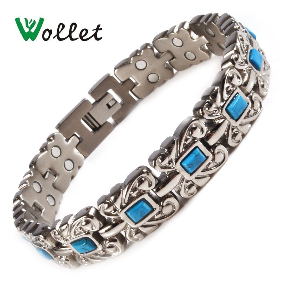 Wollet Bijoux Turc Pierre Magnétique Pur Titane Bracelets Bracelet pour Hommes Femmes Aimant Santé Guérison D'énergie Argent Couleur