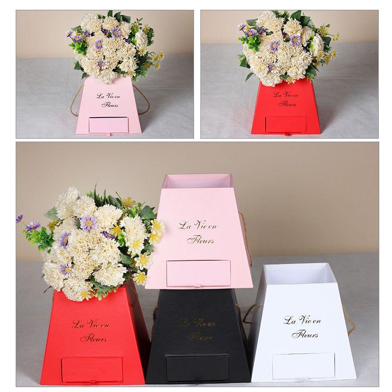 Creative Popcorn Bucket Ladder Drawer Box Portable Fashion Flower Box Flower Packaging Gift Box Wedding Party Decoraiton