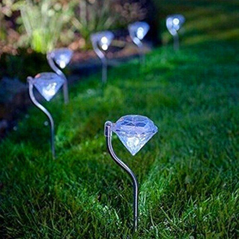 Rautenförmigen Solarbetriebene Lampe Outdoor LED Solar Rasen Licht Weg Zaun Yard Garten Lichter