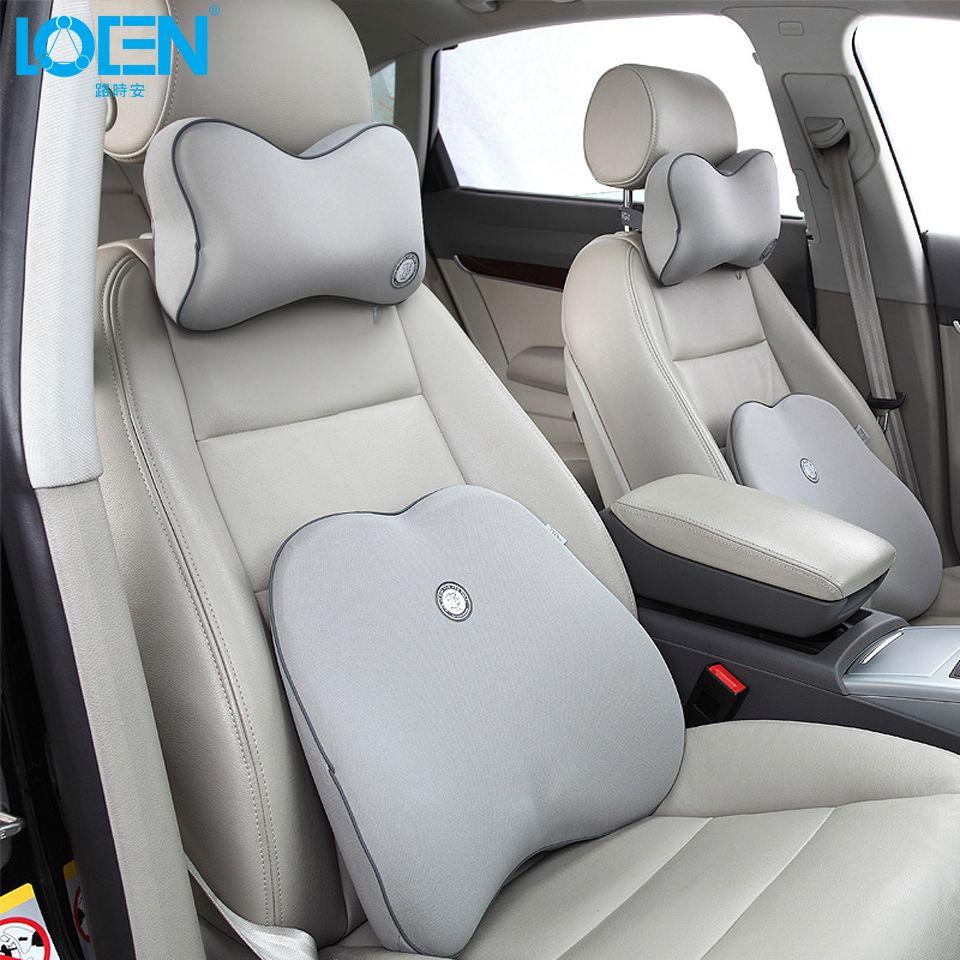 Haute qualité voiture cou coussin taille soutien ensemble avec 11 couleurs solide voiture soutien lombaire dos soutien ensemble voiture siège housse coussin