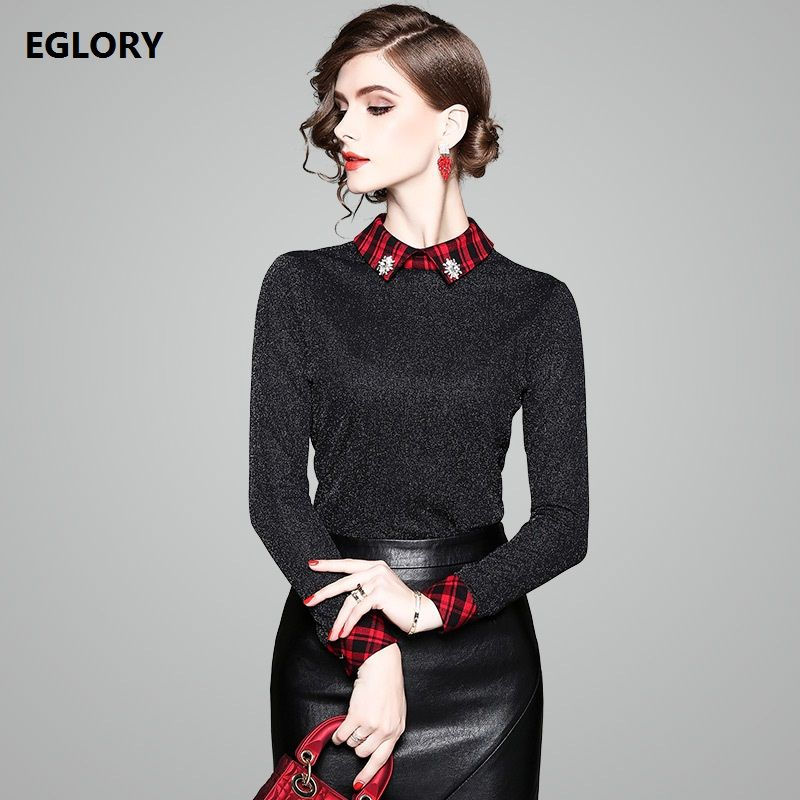 Long Sleeve T-Shirts Women Autumn Spring 2018 High Quality Fashion Red Plaid Print Diamond Beading Casual Basic Tops t shirt 3XL