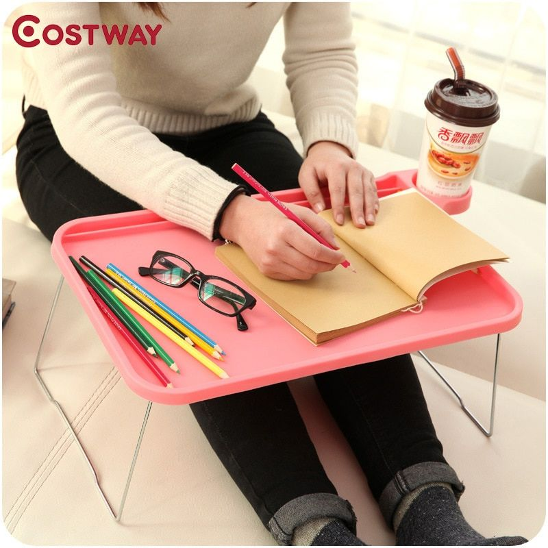 COSTWAY Computer Desks Portable Adjustable Foldable Laptop Notebook Lap Folding Small Desk Stand for Bed Office Furniture W0128