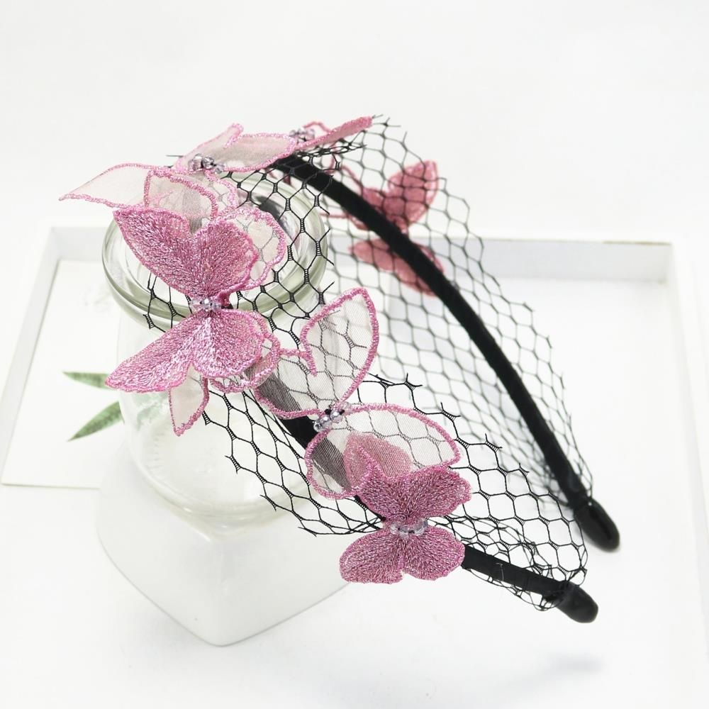 Unique Design Girl Vivid Butterfly Hairbands Sweet Lace Gauze Hair Bands Vacation Beach Broadside Cut Out Headband