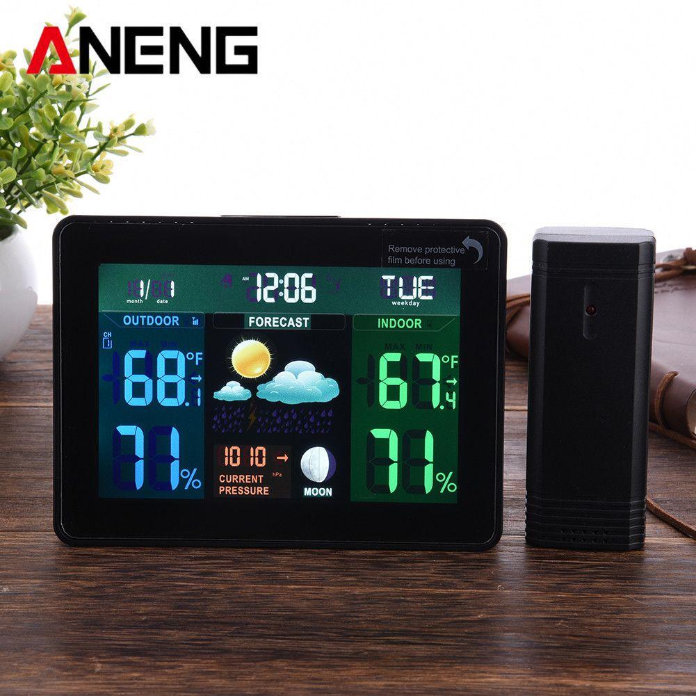 LCD numérique Sans Fil Station Météo Réveil Électronique Intérieur Extérieur Thermomètre Hygromètre Calendrier Affichage des Phases De Lune