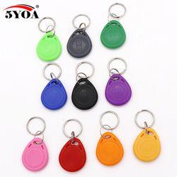 5YOA 10Pcs EM4100 125khz ID Badge Keyfob RFID Tag Tags llavero Porta Chave Card Key Fob Token Ring Proximity Chip