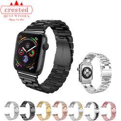 Faixa de relógio de luxo Strap para Apple 42mm/38mm iWatch 4 banda 44mm/40 milímetros Inoxidável pulseira de metal Pulseira de aço relógio Maçã 4 3 2 1