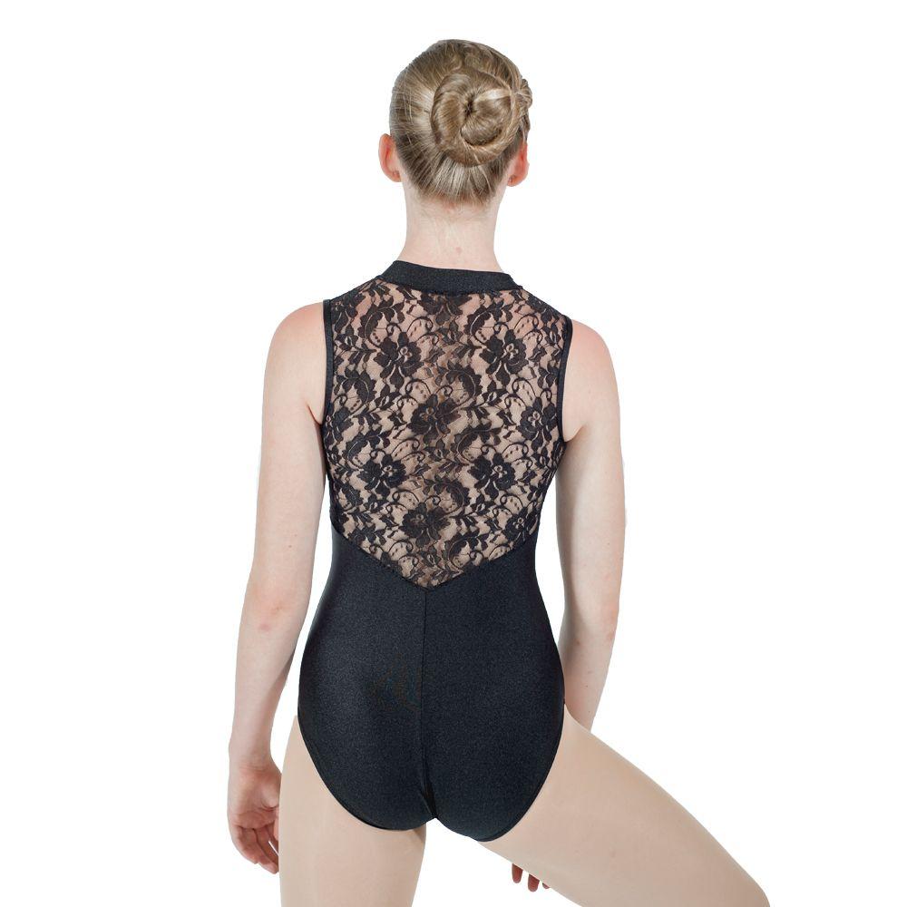 Noir brillant Nylon/Lycra noir dentelle retour débardeur Ballet justaucorps danse Costume filles Dancewear dames danse body
