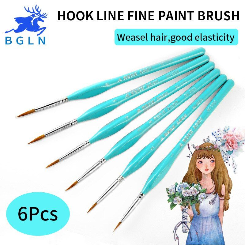 BGLN 6Pcs Weasel Hook Line Pen Fine Watercolor Paint Brush For Drawing Art Gouache Oil Painting Brush Art Supplies