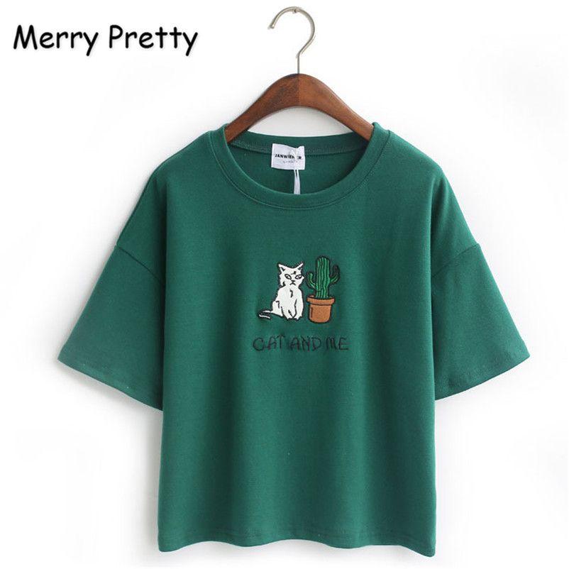 Joyeux Assez Harajuku t-shirt femmes style Coréen t-shirt tee kawaii chat broderie coton tops shirt t-shirt féminin Drop Ship