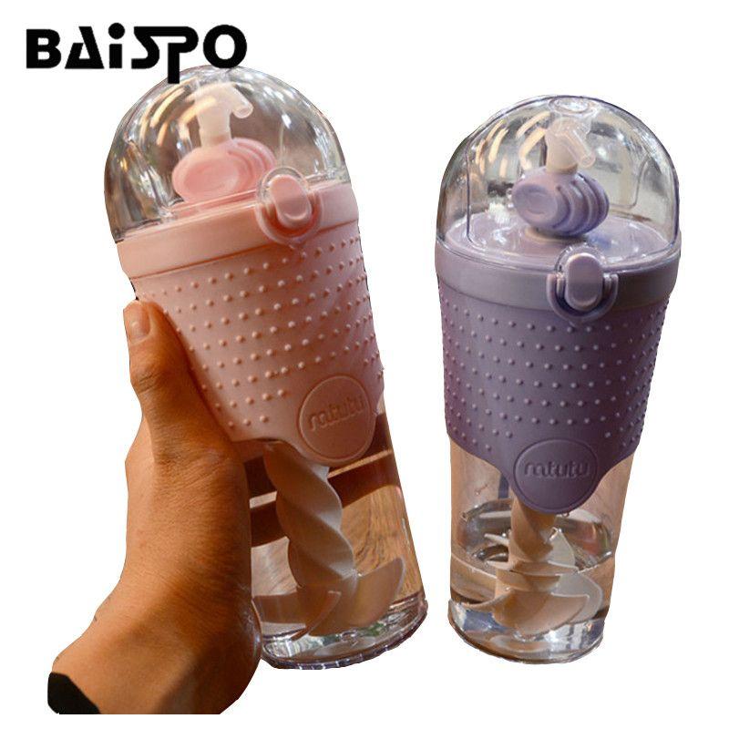 Creative bouteille d'eau Protéines Shaker Bouteille de sport remise en forme portable unique couche en plastique mélange sports de plein air bouilloire