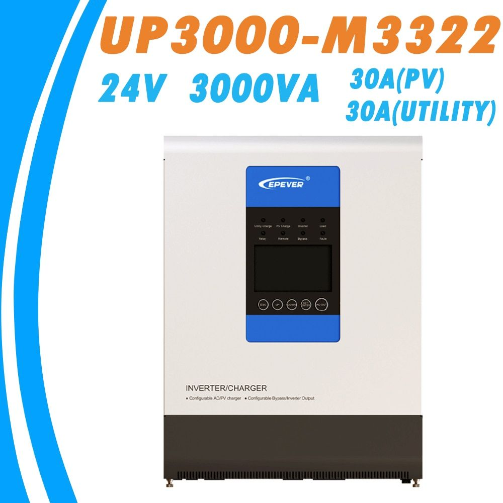 EPever 24V 3000VA Pure Sine Wave Inverter and 30A MPPT Charger Max 100V PV Input 220VAC Utility Input 220VAC Output UP3000-M3322