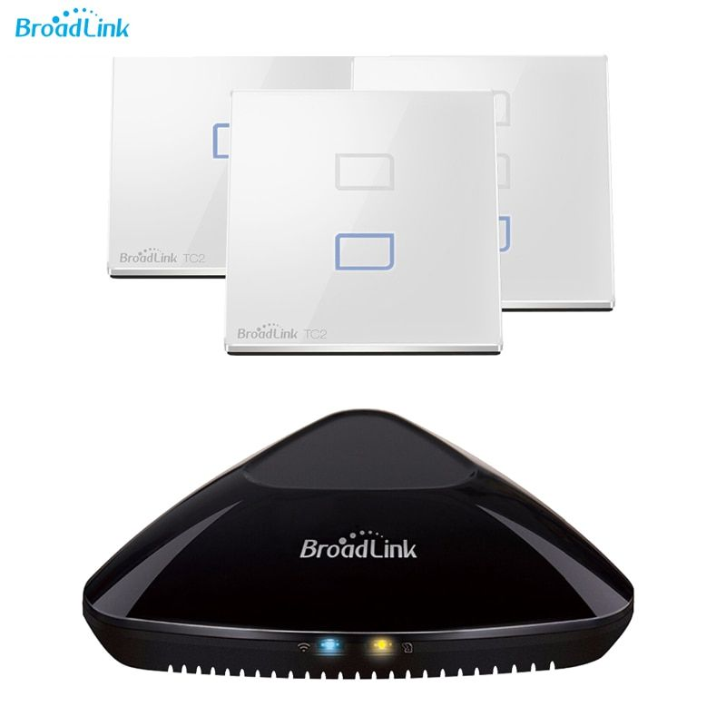 Mise à jour du contrôleur de télécommande intelligent Wifi universel Broadlink Rm Pro + interrupteur mural tactile EU pour un éclairage intelligent Via Internet