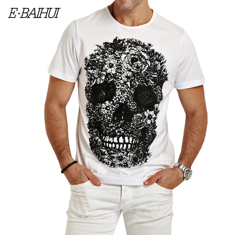 E-BAIHUI hommes t-shirts mode crâne 3d T-shirt hommes Hip Hop hommes T-shirt décontracté hauts t-shirts Fitness Skate Swag marcelo burlon Y049