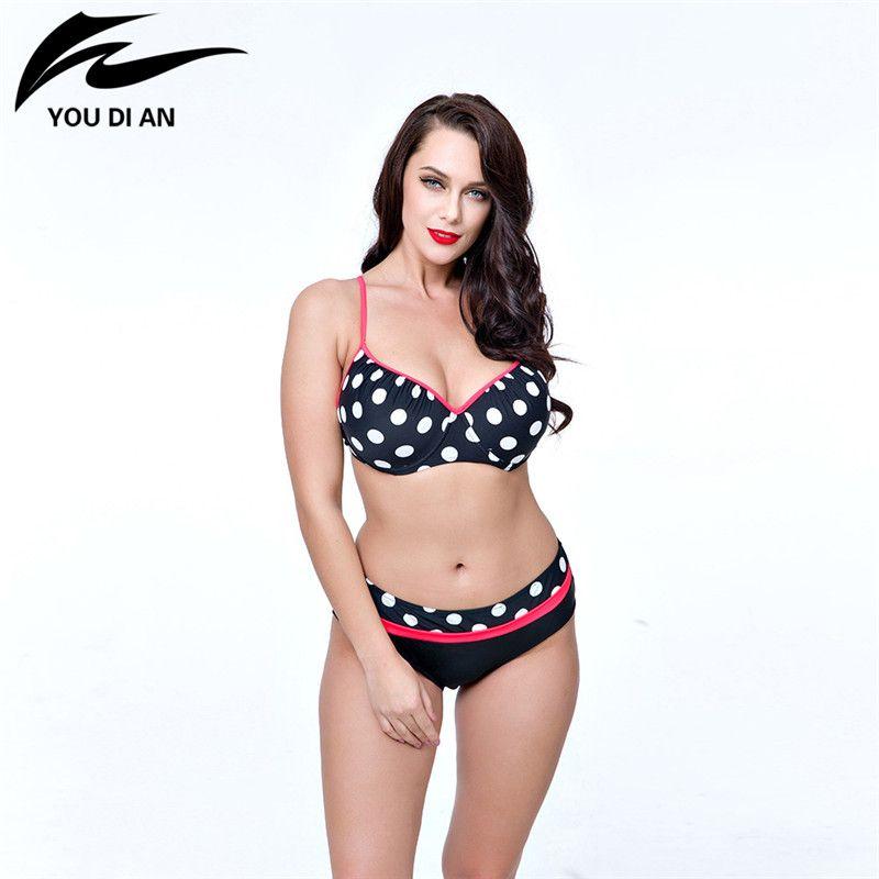 Fat Large Swimsuit Swimwear 2017 New Arrival Round Dots Swimsuit Plus Size Swimwear Women Padded Push Up Bathing Suit