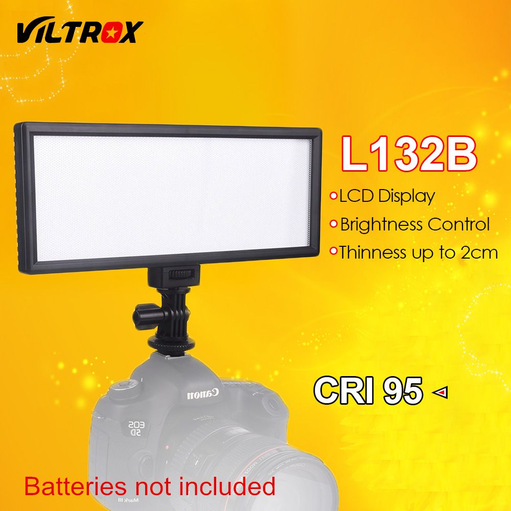 Viltrox L132B Camera LED Light Ultra Thin LCD Display Dimmable Studio LED Light Lamp Panel for DSLR Camera DV Camcorder