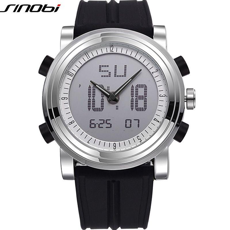 Nouveau SINOBI marque sport chronographe hommes montres à Quartz numérique double mouvement étanche plongée bracelet de montre hommes horloge
