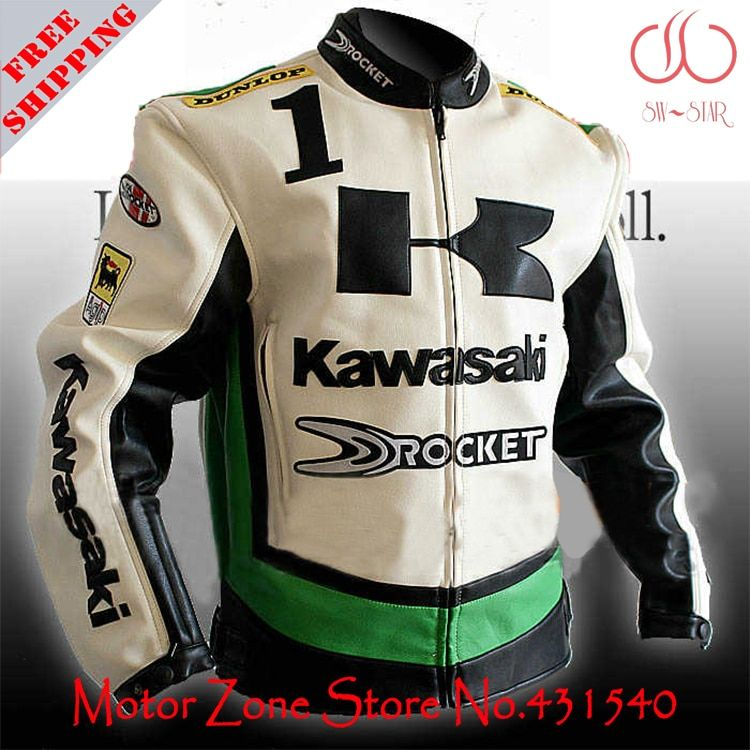 Japan Kawasaki motorcycle jackets in 3 colors white green black men's motorbike racing jackets protection PU leather M-2XL J9