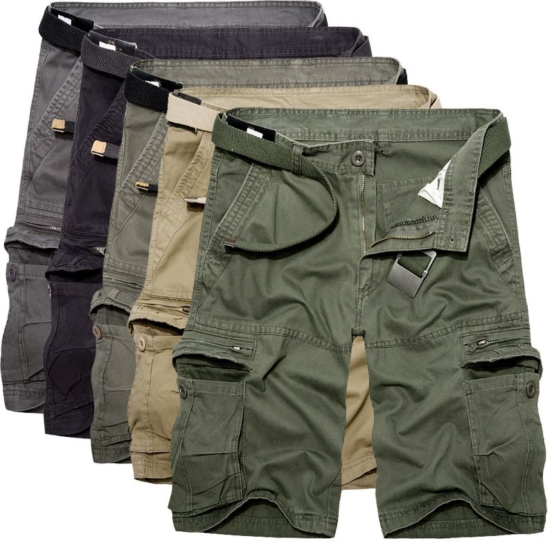 2017 Mens Military Cargo Shorts Summer army green Cotton Shorts men Loose Multi-Pocket Shorts Homme Casual Bermuda Trousers 40