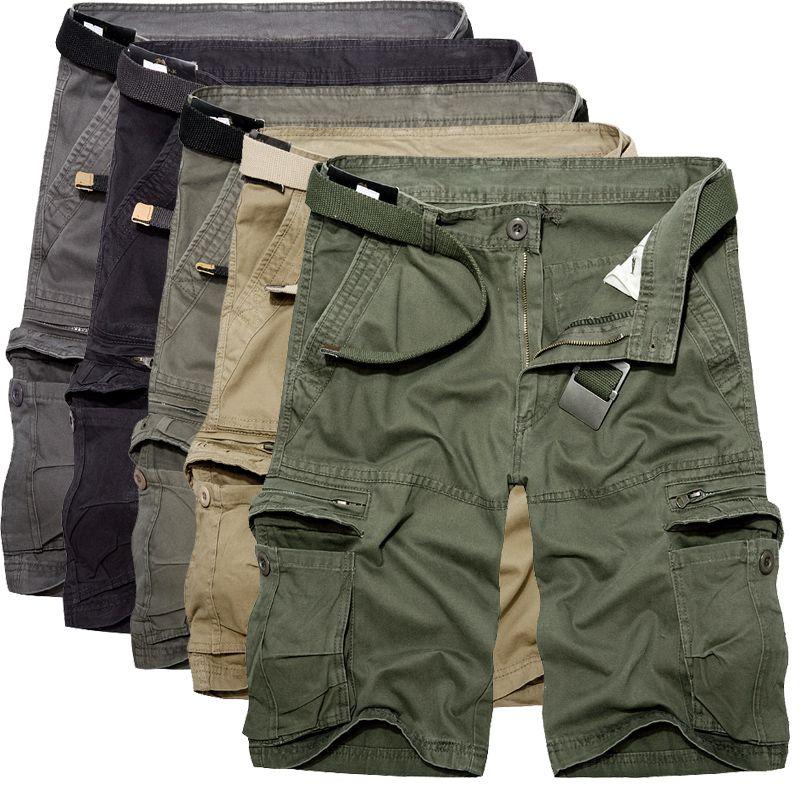 2018 Mens Military Cargo Shorts Summer army green Cotton Shorts men Loose Multi-Pocket Shorts <font><b>Homme</b></font> Casual Bermuda Trousers 40