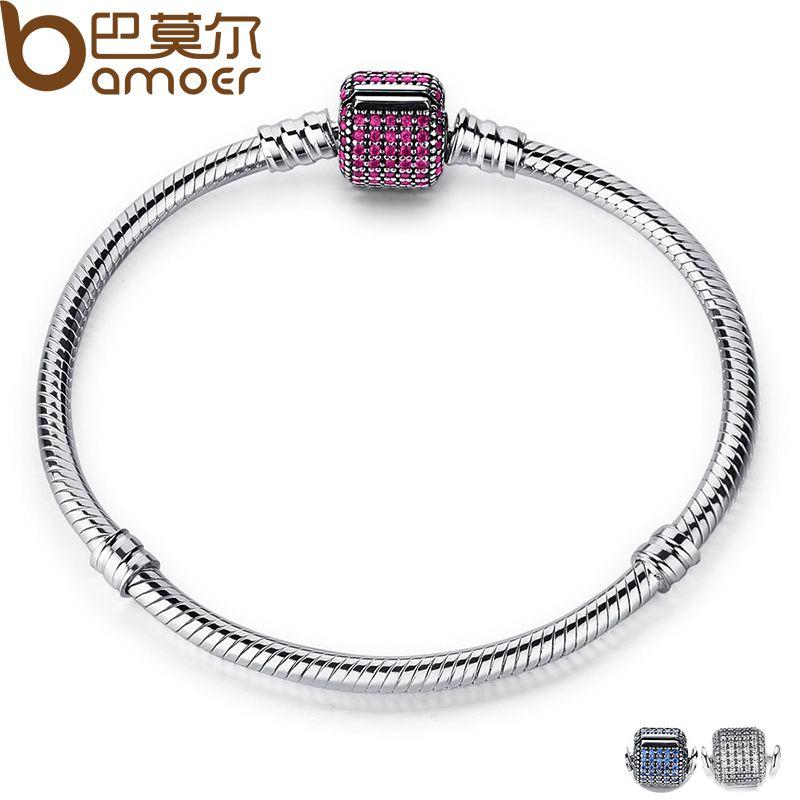 BAMOER Classique 100% 925 Sterling Argent Chaîne De Base avec Bleu Serpent Fermoir fit Charm Bracelets & Colliers Mode Bijoux PAS914