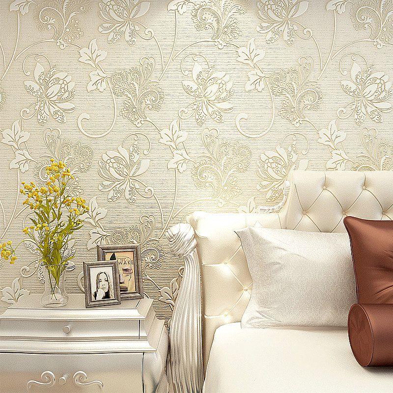 10M Luxury Italian Silk Fabrics vintage 3D floral Wall Paper papel de parede Light Color Flower Wallpaper for bedroom Home Decor