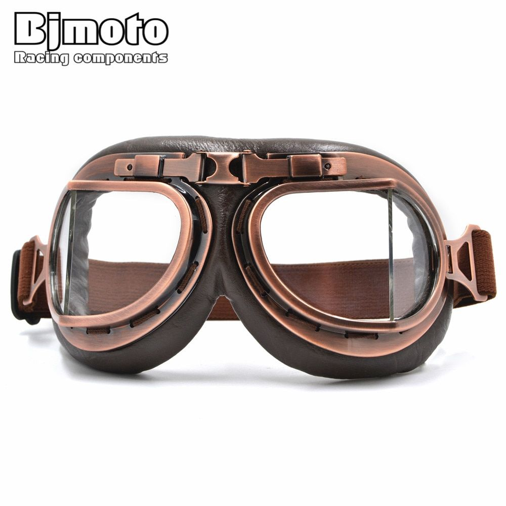 BJ moto nouvelle WWII Vintage Harley style moto rcycle gafas moto cross moto lunettes Scooter lunettes lunettes aviateur pilote Cruiser