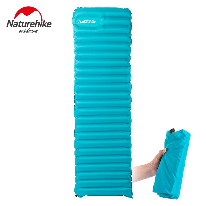 Naturehike Manually Inflatable Camping Mat Ultralight Breathable Damp-proof Air Mattress Outdoor Tent Bed Pad 1830x500x90mm