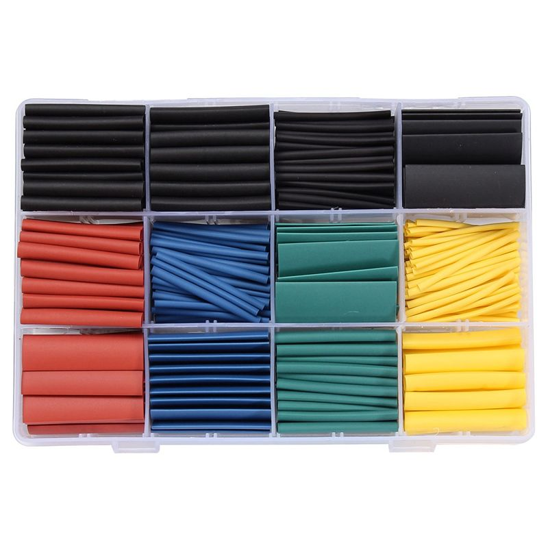 530PCS/Lot 8 Size Halogen-Free 2:1 Heat Shrink Tubing Wire Cable Sleeving for Wrap Wire Kit Tube Assortment Sleeving Wrap Tubes