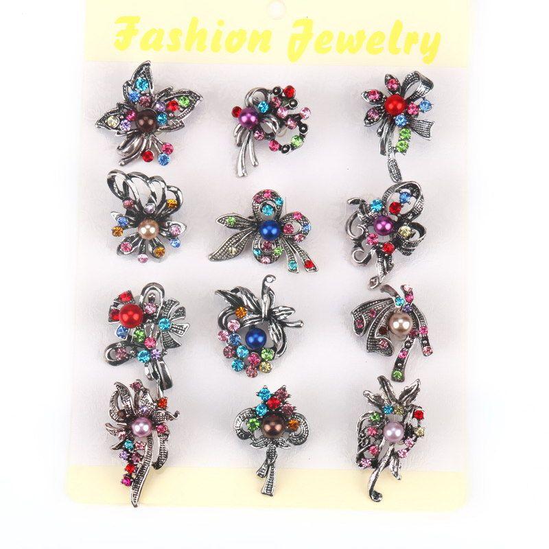 Set de 12 Unidades Al Por Mayor de Cristal Arco Broche de Diseño con la Perla Simulada Para Las Mujeres Novia o la dama de Honor