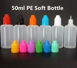 Mélanger les couleurs 50 ml PE Plastique Flacon compte-gouttes Neddle Bouteille Vide E Liquide Bouteille avec Bouchon de sécurité et Long et Mince conseils, 10 pcs/lot
