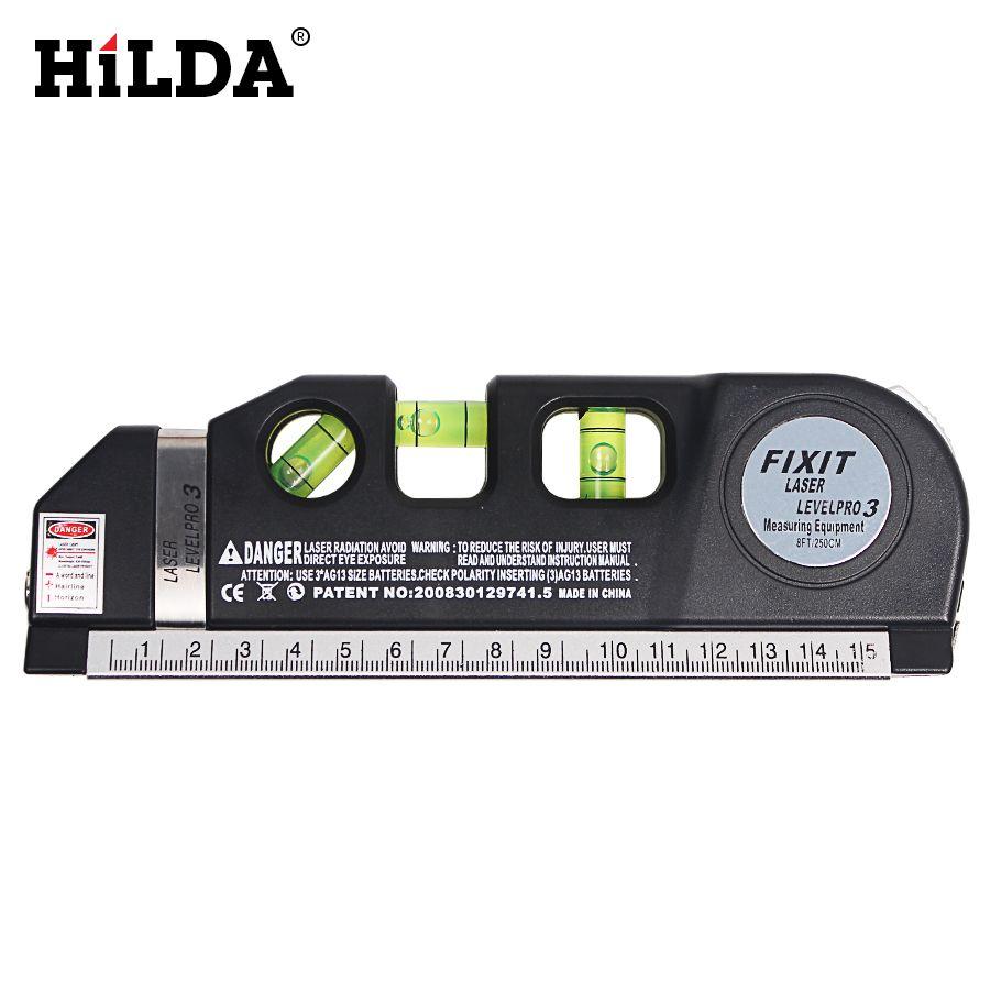 HILDA Laser Level Horizon Vertical Measure 8FT Aligner Standard & Metric Rulers Multipurpose Measure Instrument Level Laser Tool