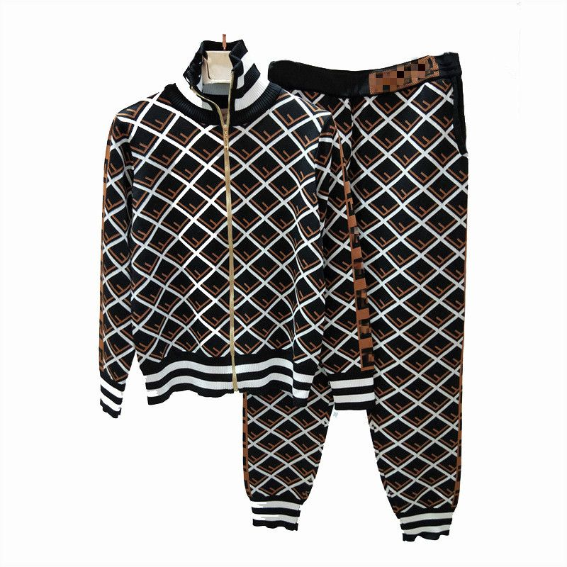 Knitted Women Sets F Letters Grid Zipper Cardigan Jacket Long Pants 2018 Autumn Runway Lady Plaid Coat Sweaters Two Pieces Suits
