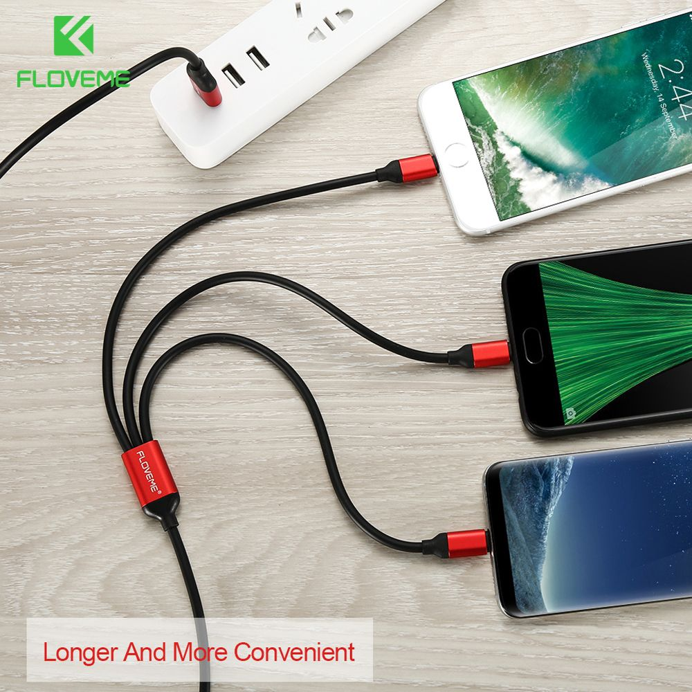 FLOVEME 3 in 1 USB Cable For iPhone 8 7 X XR XS Max For Samsung Xiaomi Charging Micro USB Cable Type C For Lightning USB Cables